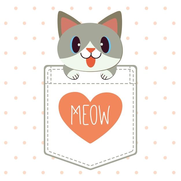 O personagem do gato bonito no bolso da camisa em estilo vetor plana. Vetor Premium