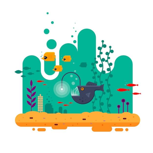 O pescador nada em profundidade entre outros peixes, o mundo subaquático colorido com madeira do mar e areia - ilustração plana Vetor Premium