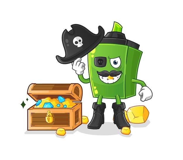 O pirata marcador com mascote do tesouro. desenho animado Vetor Premium
