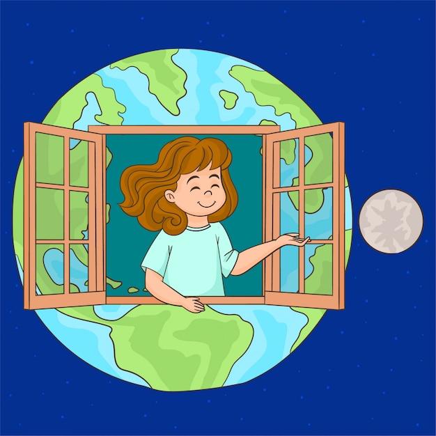 O planeta é a nossa casa Vetor Premium