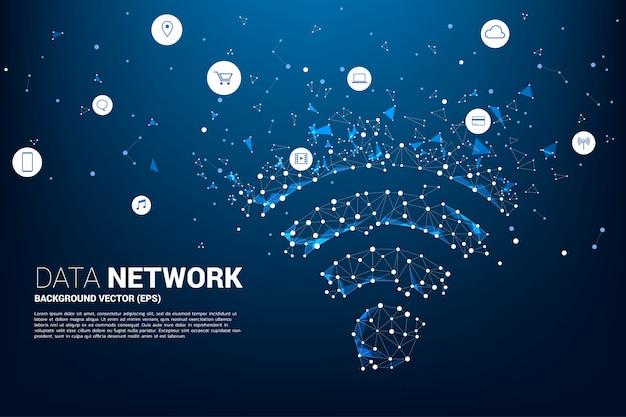 O ponto conecta o signage móvel dos dados do estilo da placa de circuito da linha Vetor Premium