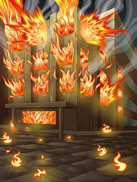 O prédio está queimando. Vetor Premium