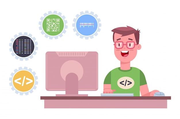 O programador está trabalhando no software. cartoon ilustração plana de um desenvolvedor web freelance com computador isolado Vetor Premium
