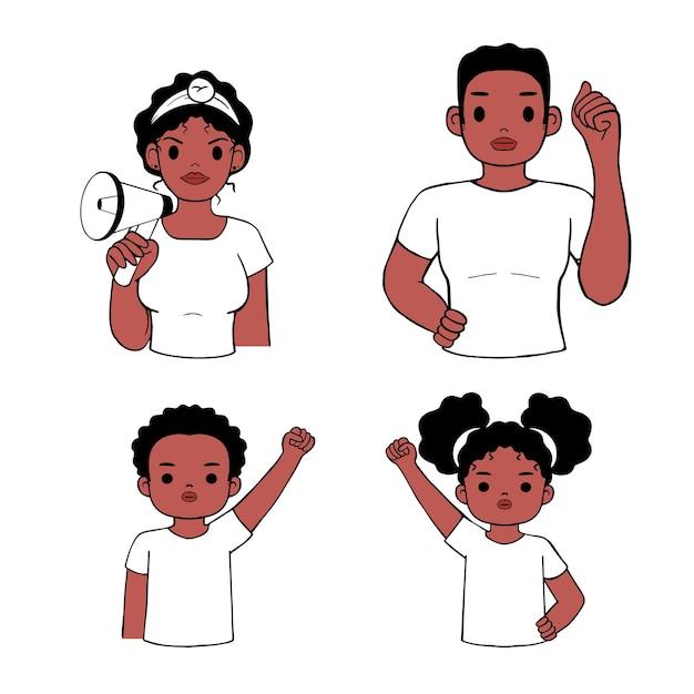 O protesto da família por vidas negras é importante. mãe, pai, filho, filha, avatar com o símbolo do punho. desenhado à mão Vetor Premium