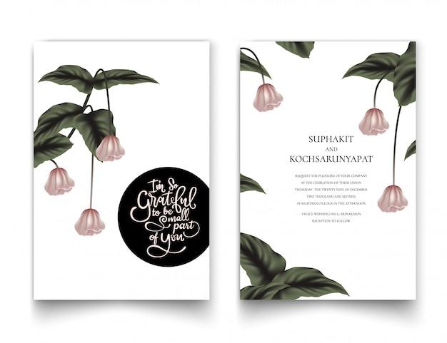 O quadro floral rosa para cartões de convite. Vetor Premium