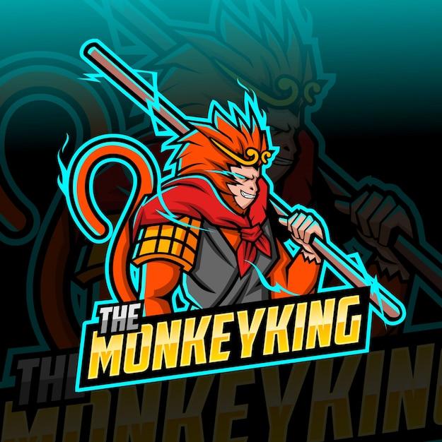 O rei do macaco mascote esport logotipo Vetor Premium