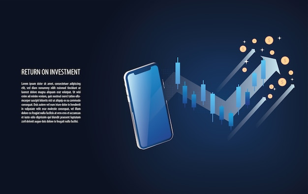 O retorno sobre o investimento gráfico roi e gráfico aumentam com o sinal de castiçal forex Vetor Premium