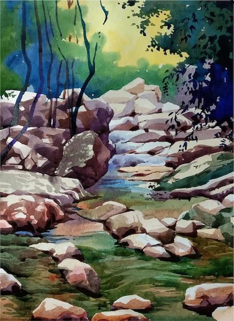 O rio na floresta ilustração desenhada à mão Vetor Premium
