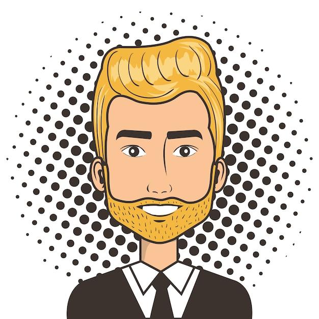 O Rosto Do Homem Em Um Estilo Comico De Pop Art Dos Desenhos