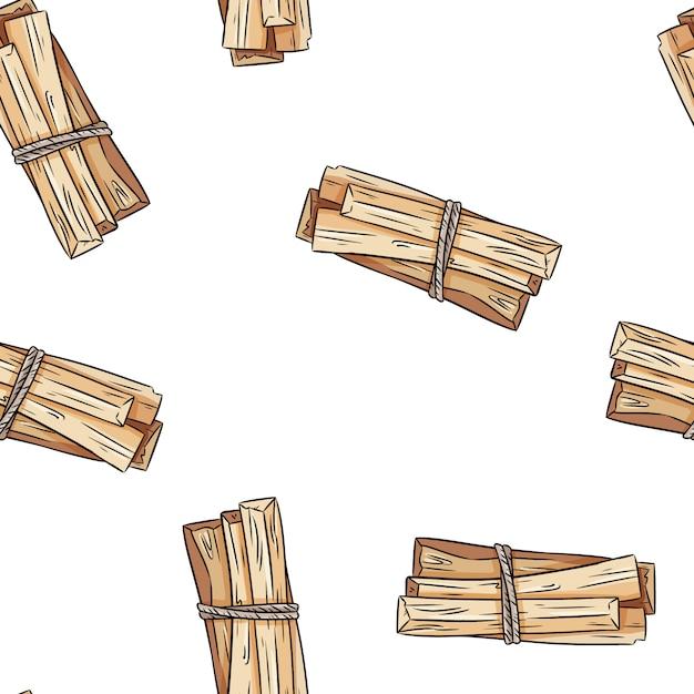 O sábio mancha o teste padrão sem emenda do boho desenhado à mão das varas. pacote erva palo santo Vetor Premium