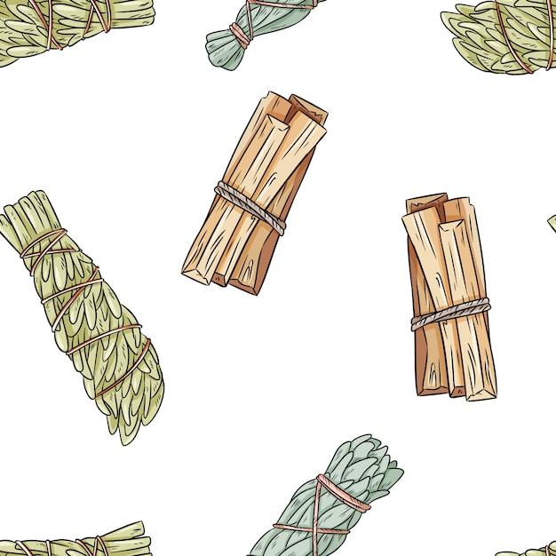 O sábio mancha o teste padrão sem emenda do boho desenhado à mão das varas. sábio, mugwort e palo santo pacote fundo de textura Vetor Premium