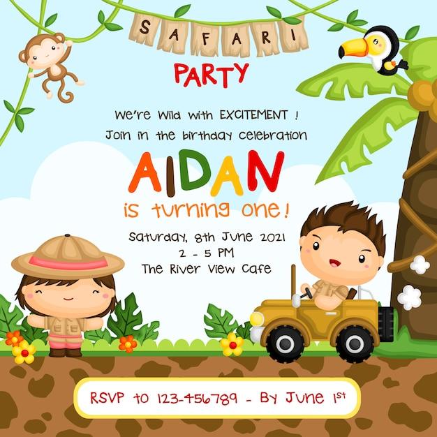 O safari caçoa o convite da festa de anos Vetor Premium