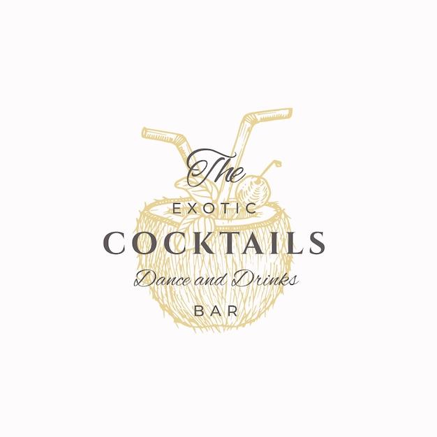 O sinal abstrato de cocktails exóticos, símbolo ou modelo de logotipo. mão desenhada coco metade com desenho de tubos de beber e tipografia retro. emblema de luxo vintage elegante. Vetor Premium