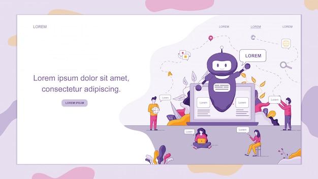 O smart chatbot dá as boas-vindas ao cliente. Vetor Premium