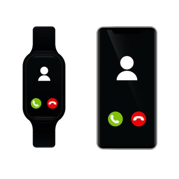 O smartwatch se conecta a um smartphone para ligar Vetor Premium