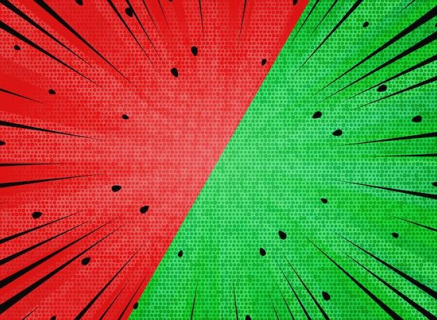 O sol abstrato estourou o fundo das cores vermelhas e verdes da melancia do contraste. Vetor Premium