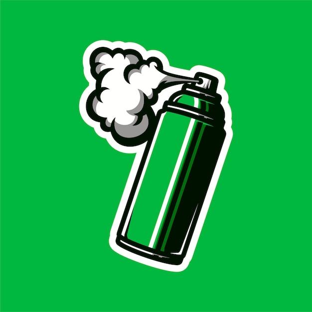 O spray pode mascotar o logotipo Vetor Premium