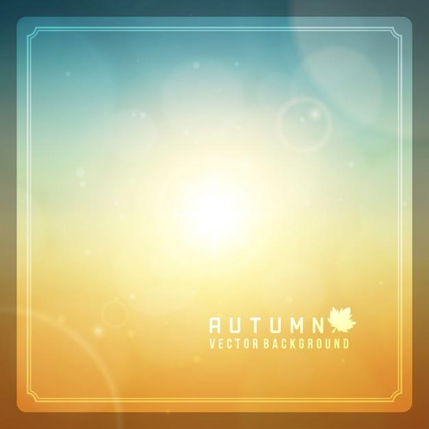 O sumário do outono borrou o fundo dos alargamentos da lente do bokeh e do sol. Vetor Premium