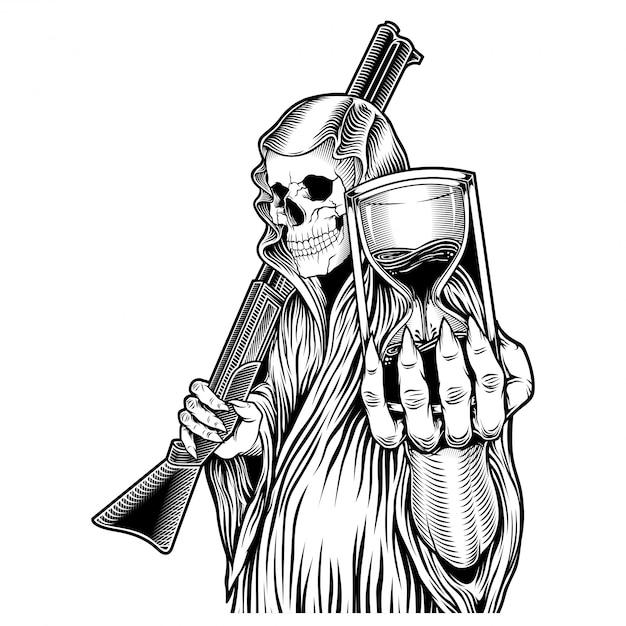 O tempo, ceifador que segura ampulheta e desenho de mão de arma Vetor Premium
