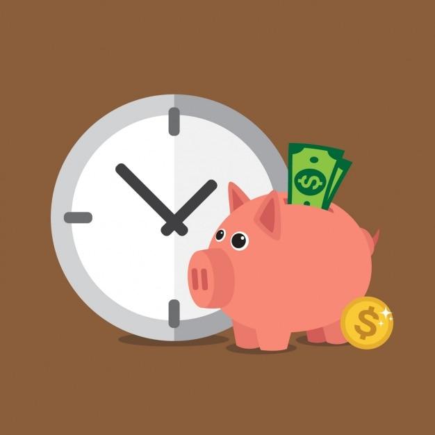 O tempo é o fundo do dinheiro Vetor grátis