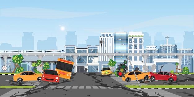 O terremoto destruiu a construção e a rua. Vetor Premium