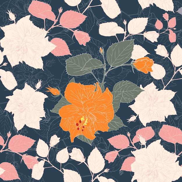 O teste padrão sem emenda botânico com hibiscus floresce o fundo preto. Vetor Premium