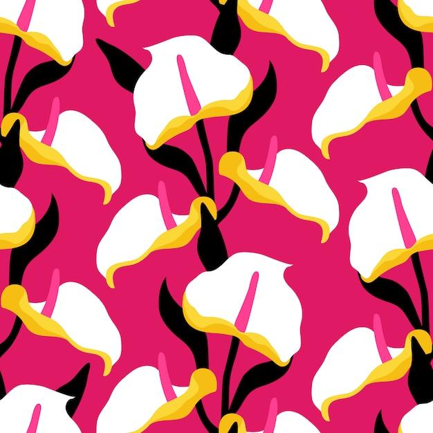 O teste padrão sem emenda com calla lilly floresce no fundo cor-de-rosa. Vetor Premium