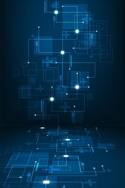 O trabalho de sistemas digitais que viajam através de circuitos eletrônicos. fundo Vetor Premium