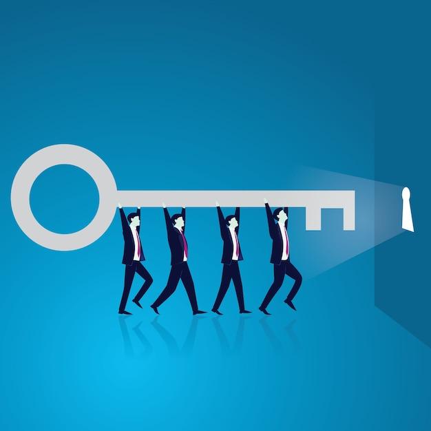 O trabalho em equipe de negócios para alcançar o sucesso juntos Vetor Premium