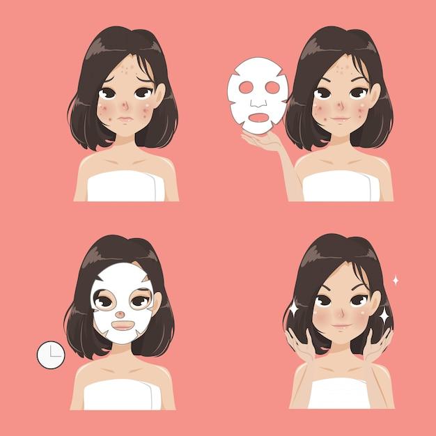 O tratamento de lençois de máscaras é feito por mulheres bonitas. Vetor Premium