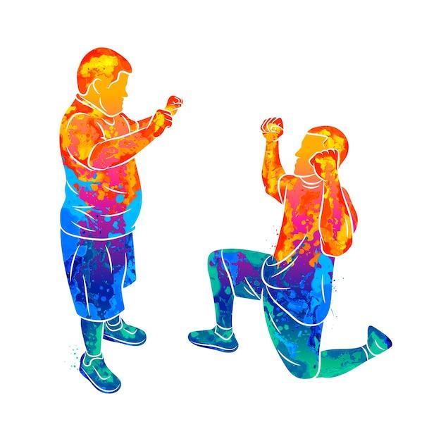 O treinador abstrato ajuda um menino com síndrome de down devido a respingos de aquarelas. necessidades especiais. ilustração de tintas Vetor Premium