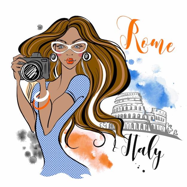 O turista da menina viaja a roma em itália. fotógrafo. viagem. Vetor Premium