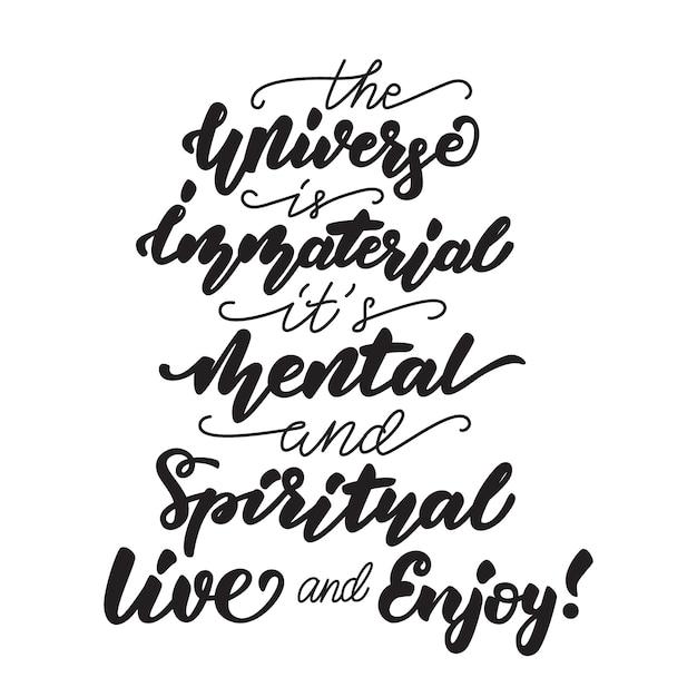 O universo é uma citação de citação imaterial Vetor Premium
