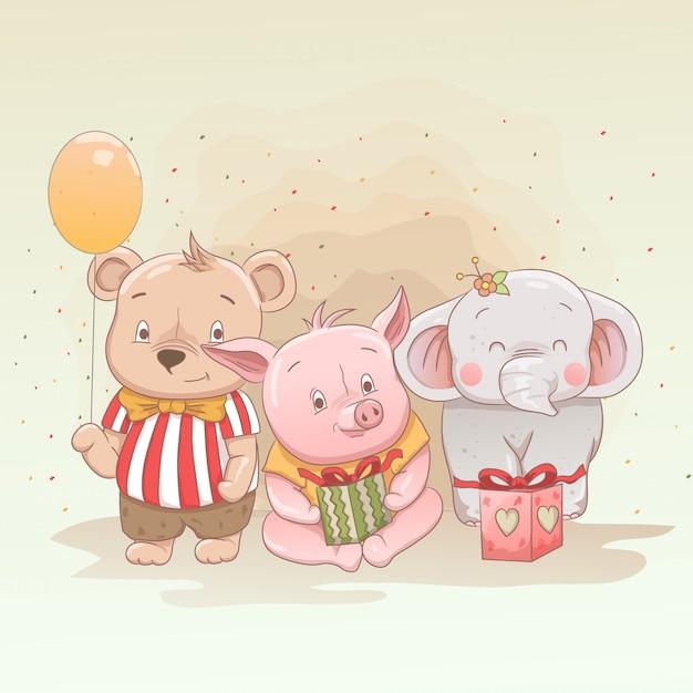 O urso bonito do bebê, o leitão e o elefante comemoram o natal e obtêm presentes Vetor Premium