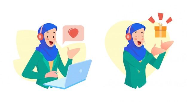 O uso do serviço ao cliente feminino hijab fornece um serviço amigável e fornece notícias sobre presentes aos consumidores Vetor Premium