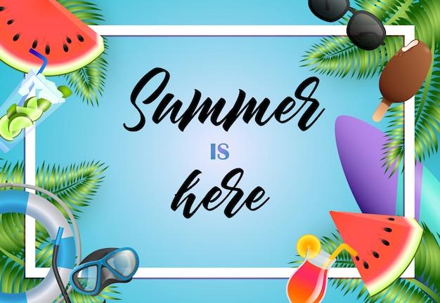 O verão está aqui design de cartaz brilhante. sorvete, máscara de mergulho Vetor grátis