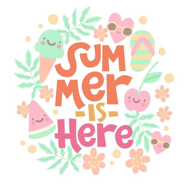 O verão está aqui letras Vetor grátis