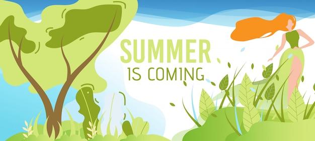 O verão está chegando banner plana de saudação Vetor grátis