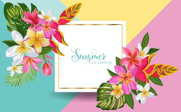O verão está chegando. flores tropicais exóticas emolduradas ilustração Vetor Premium