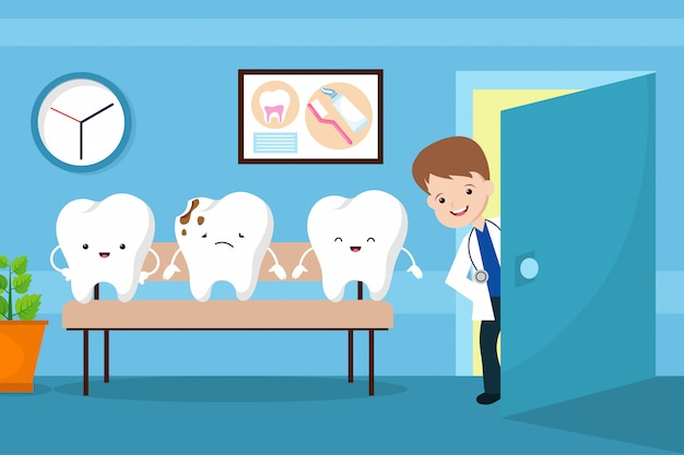 O vetor saudável da boca caçoa o conceito. dentes, em, dentista, sala de espera Vetor Premium