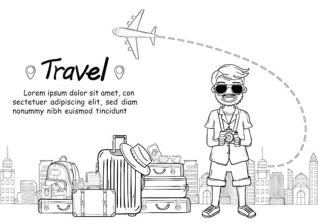 O viajante bonito dos desenhos animados do homem da tração da mão da garatuja, viaja em todo o mundo o conceito. sorteio de mão, Vetor Premium