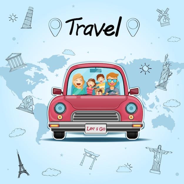 O viajante e o cão felizes do homem no carro vermelho com verificação no ponto viajam em todo o mundo o conceito no projeto azul do fundo do coração. Vetor Premium