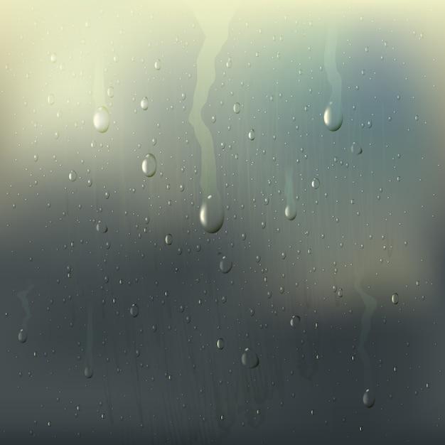 O vidro molhado misted colorido deixa cair a composição realística com manchas da chuva na janela Vetor grátis