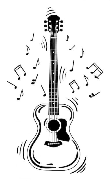 O violão faz um som. violão preto e branco com notas. instrumento musical. Vetor Premium