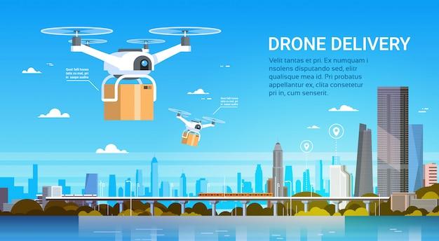 O zangão com caixas voa sobre a cidade moderna, conceito da entrega do transporte aéreo Vetor Premium