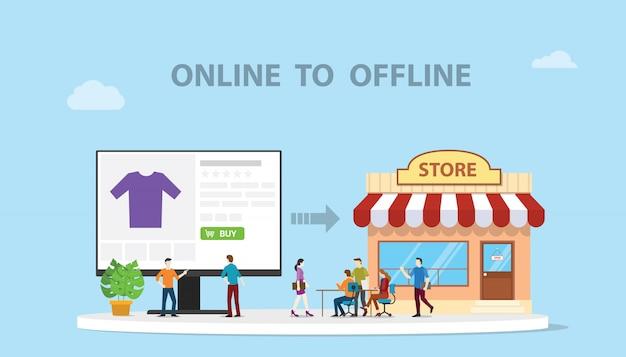 O2o on-line para off-line e-commerce nova tecnologia conceito com loja e site on-line Vetor Premium