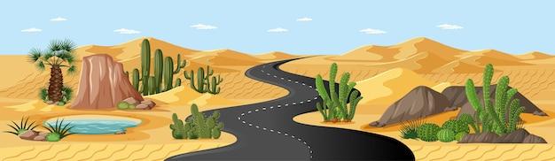 Oásis no deserto com estrada, palmeiras e paisagem natural com cactos Vetor grátis