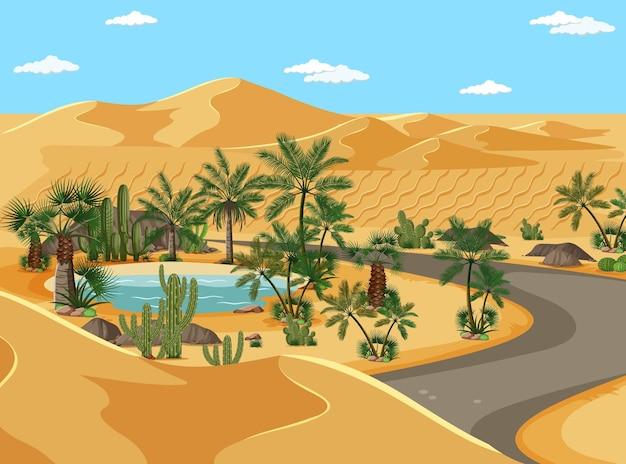 Oásis no deserto com palmeiras e paisagem rodoviária Vetor grátis