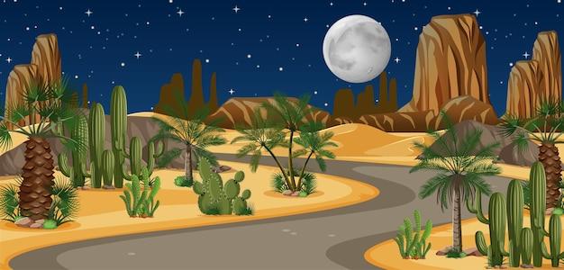 Oásis no deserto com uma longa estrada à noite Vetor grátis