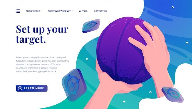 Objetivo de bussinas de basquetebol Vetor Premium